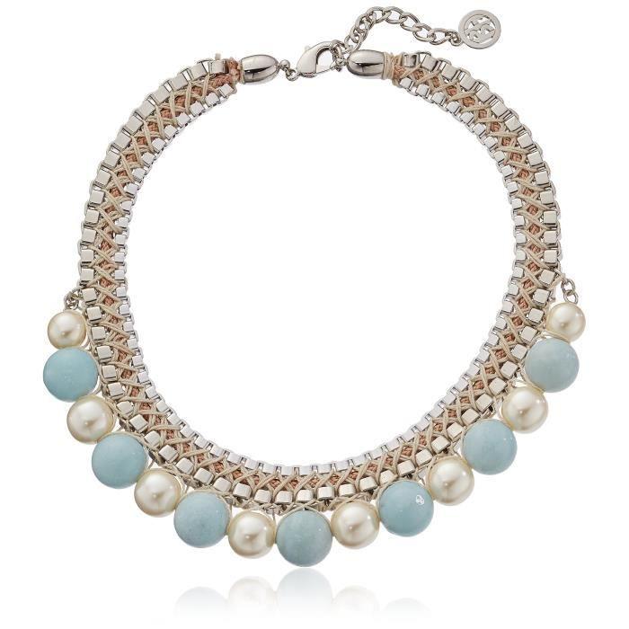 Ben-amun Jewelry Semi-precious Stone And Faux-pearl Woven Collar Chain Necklace, 16+ 2 Extender PIWQJ