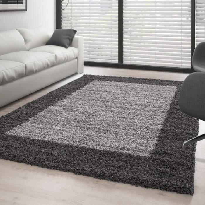 tapis de salon shaggy pile longue designe 2 couleur gris gris claire 300x400 cm achat. Black Bedroom Furniture Sets. Home Design Ideas