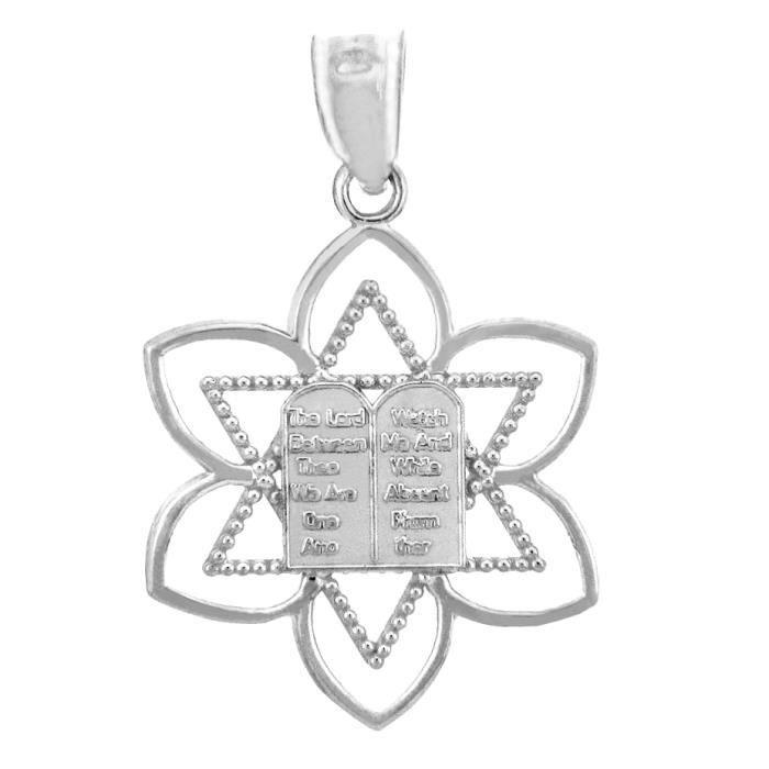 Collier Pendentif10 ct 471/1000 Charm JuiveCollier Pendentif en orBlanc David Étoile de Mispa (vient avec une Chaîne de 45 cm)