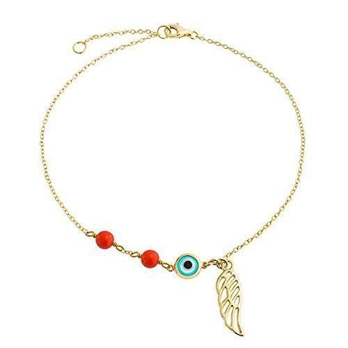 Or Vermeil Coral Mauvais Oeil Cheville Ange Aile Cheville Bracelet 8,75 Dans