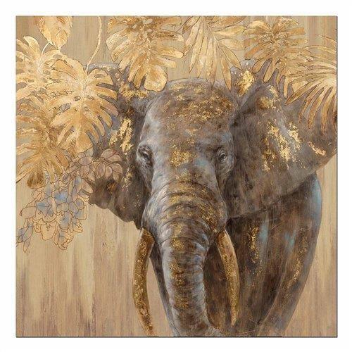 tableau avec cadre elephant 100x100 cm achat vente tableau toile cdiscount. Black Bedroom Furniture Sets. Home Design Ideas