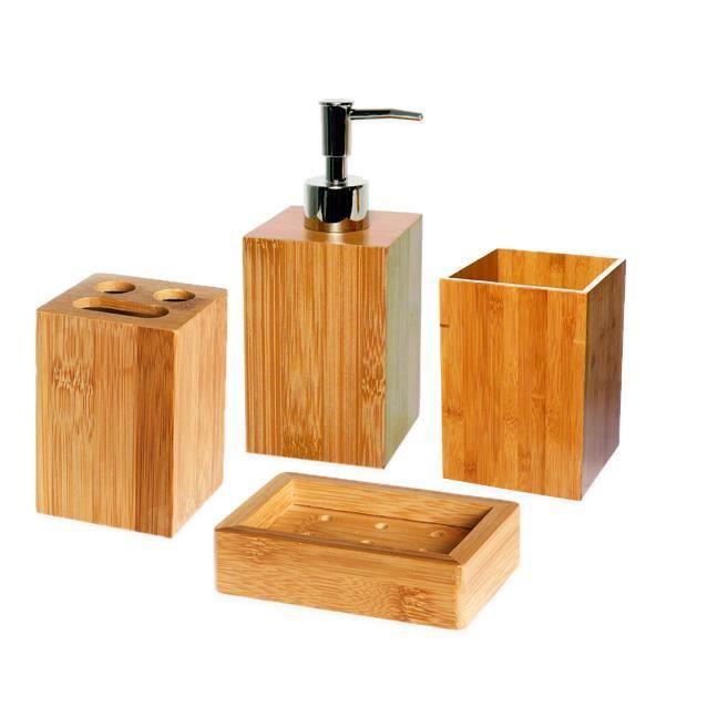 set 4 accessoires de bain bambou achat vente set. Black Bedroom Furniture Sets. Home Design Ideas