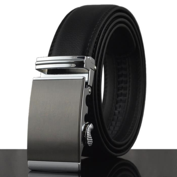 Mode Nom Homme Ceintures en cuir véritable affaires purement formel lisse  Boucle de vache Ceinture ceintures noires pour les mes f7b4c6fc64d