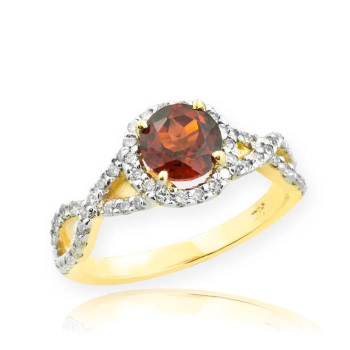 Bague Femme Alliance 10 ct Or 471/1000 Grenat Infinité Avec Diamant