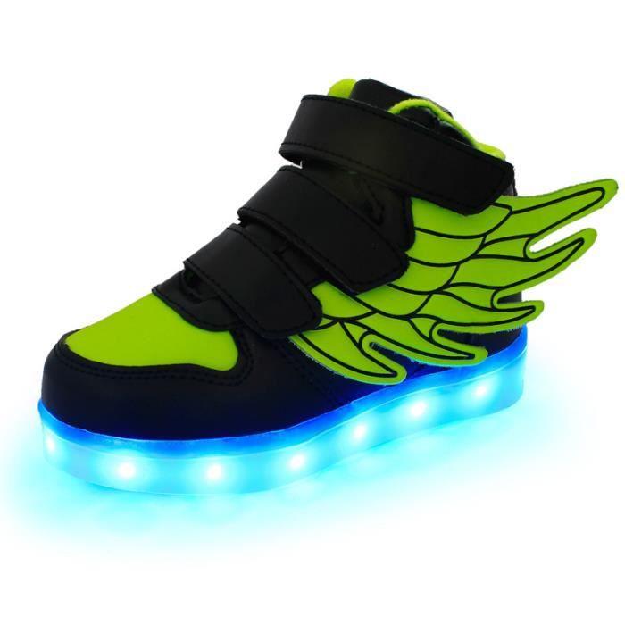 Korean Mode chaud chaussures 7 Couleu Enfants USB Charge LED Lumineux Chaussures de Sports Baskets Chaussures Noir-vert