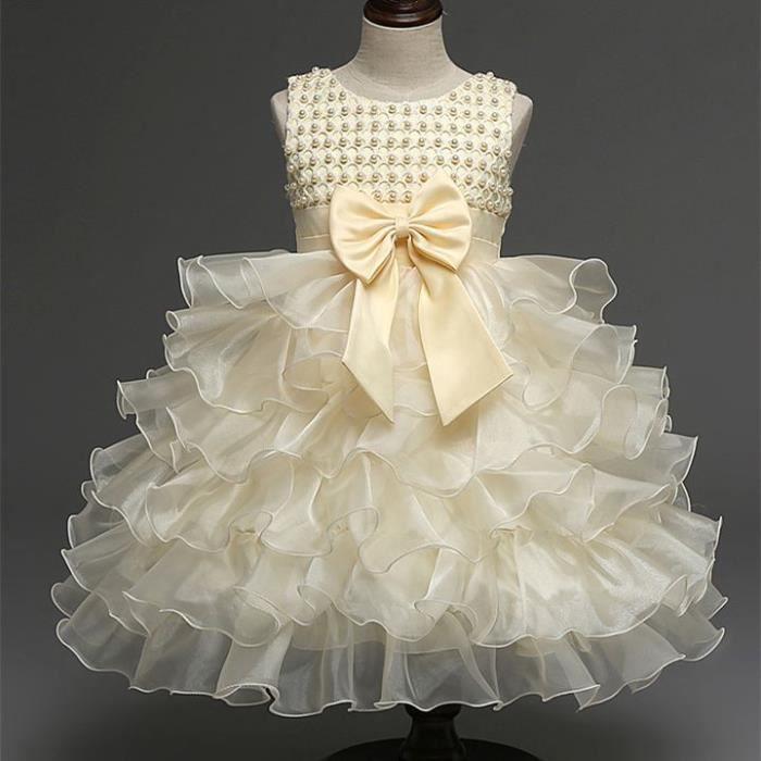 Robe ceremonie bapteme bebe fille robe d 39 enfan beige for Robes de 12 mois pour le mariage