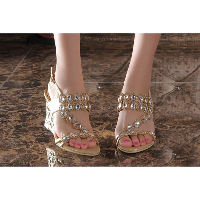 Sandales d'or Nouveaux bohême paon strass cloutés creux compensées chaussures de mariage de mariée WVjMuCv
