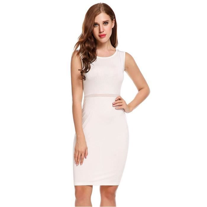 Femmes robe sans manches col rond robe sexy coutures jupe