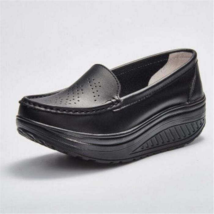 Chaussures femme En Cuir Chaussure ascenseur De Marque De Luxe femmes cuir Moccasins Grande Taille Nouvelle Mode LyCMqvly