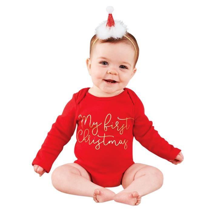 ad3e0c340803b 0-24 Mois Body Bébé Fille Barboteuse Noël Combinaison Rouge Nouveau-né  Grenouillère Combishort