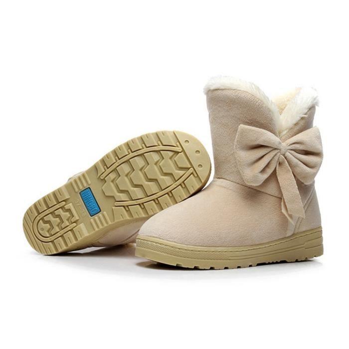 Femmes cheville Bottes de neige 4 couleurs Automne Hiver Chaussures Flock chaud Plus Size Euro Taille 35-42,marron foncé,42