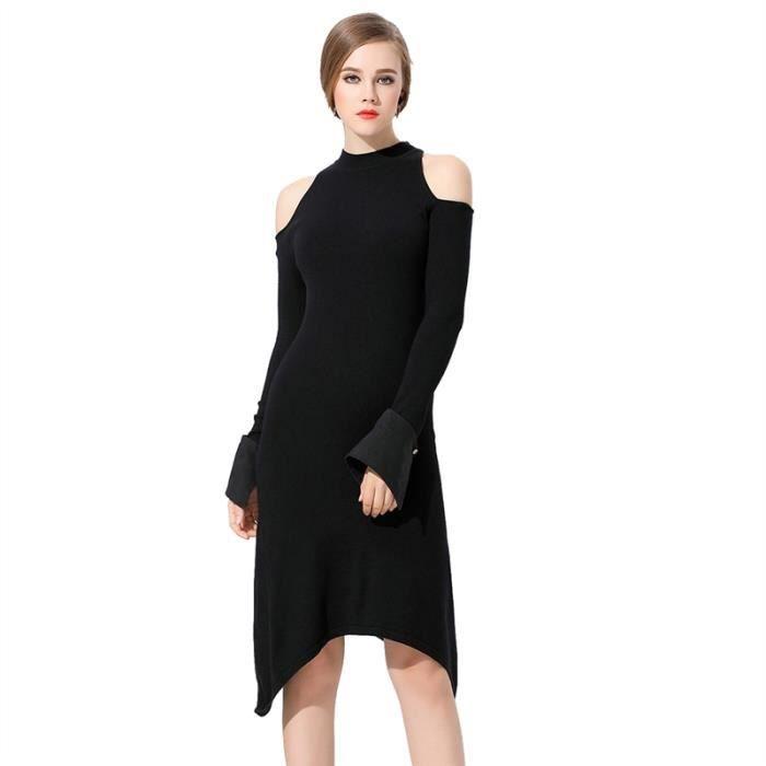 Femmes élégant ronde mi-longueur du cou Robe moulante Midi, Noir
