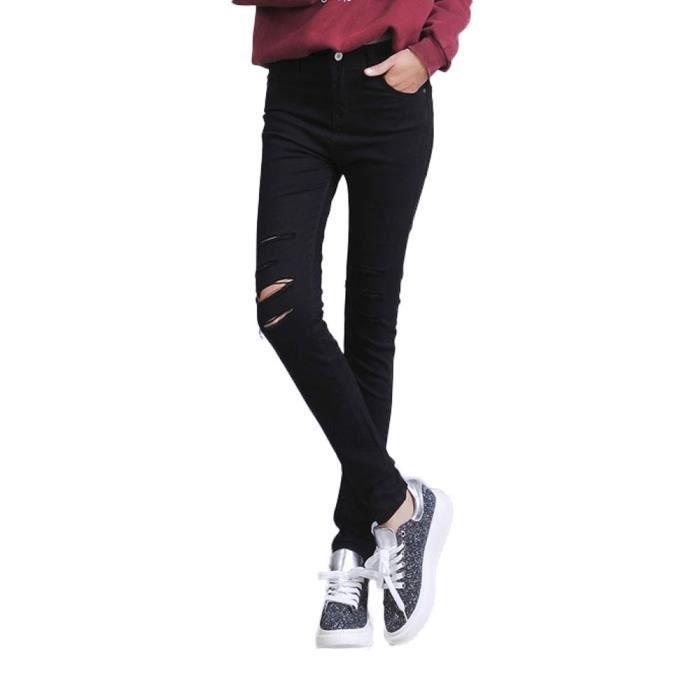 grande collection gamme exclusive vente chaude pas cher Jeans Skinny Femme Déchiré Stretch Pantalon Crayon Noir en Denim Elegant  Taille Moyenne