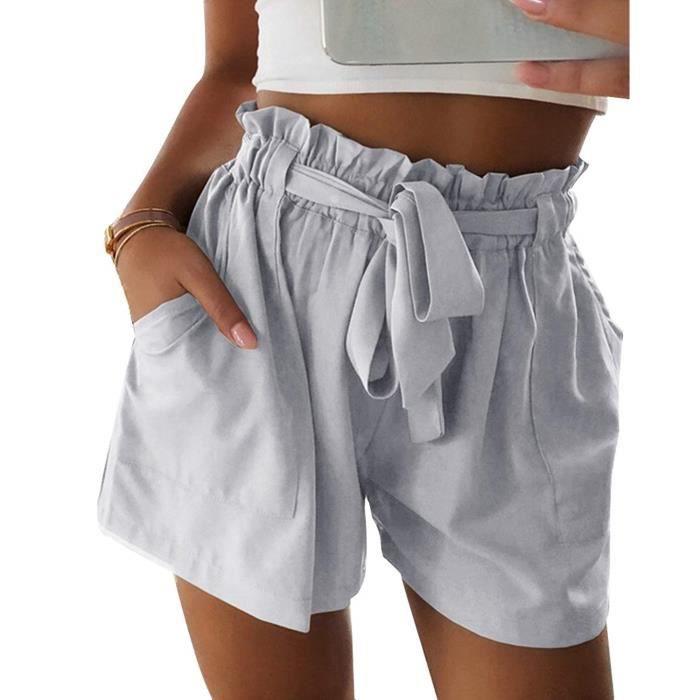 Minetom Femme Shorts Été Casual Loose Taille Haute Pantalon Court ... d4bbb55ed88