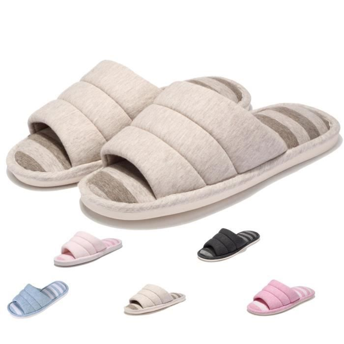 House Slippers Indoor Outdoor Knitted Cotton Non-slip Sole Washable Lightweight Home Shoes RZKQO Taille-XXL tb5lYaVDm9