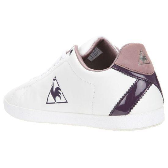 c4a45e11c69 LE COQ SPORTIF Baskets Auteuil Cuir Femme Blanc et détails violets - Achat    Vente basket - Cdiscount