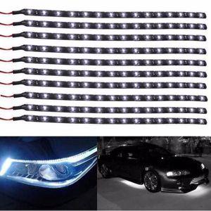 PHARES - OPTIQUES ouniondo® 10pcs blanc 30CM - 15 LED voiture Motors
