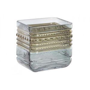 VASE - SOLIFLORE Vase/Vase en Verre transparent, avec décor doré. L