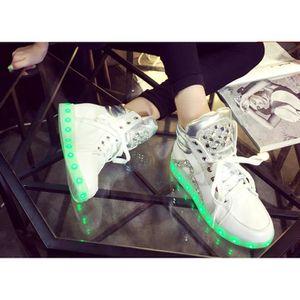 recharge respirant de 7 Sport chaussures couleur USB de Sneakers de dessus LED Haut HqwFx7BW
