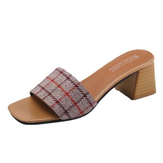 Femmes Stripe Lattice Chaussons Mode Escarpin Sandales Bohème flip Chaussures FlopGris Gris Gris - Achat / Vente escarpin