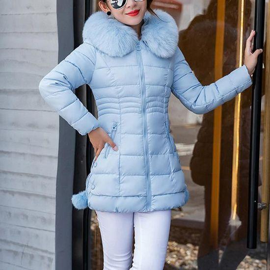Exquisgift Parka Outwear Femmes Longues Capuchon Manches À Fourrure Épais Manteau Chaud Slim Coton Veste Bleu qrCUqn