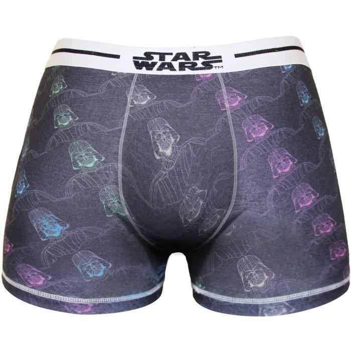 Boxer Homme Star Wars Imprimé Tête Dark Vador - Gris et violet