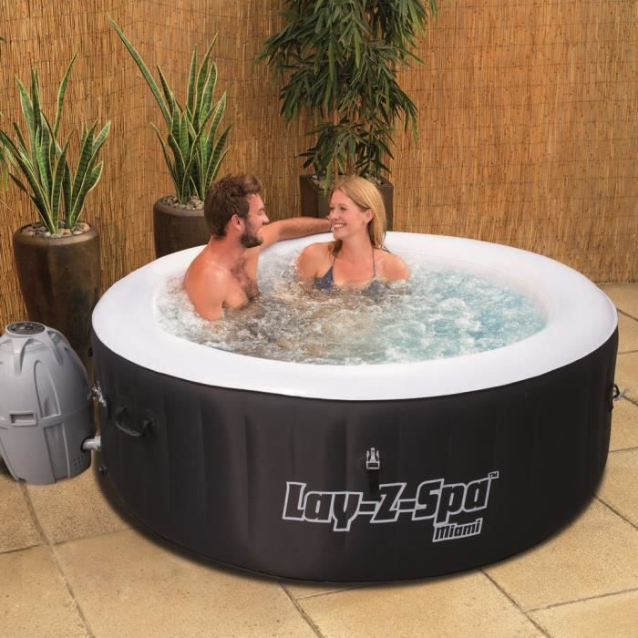 SPA COMPLET   KIT SPA BESTWAY Spa Rond Gonflable Miami 2 4 Places 180x65