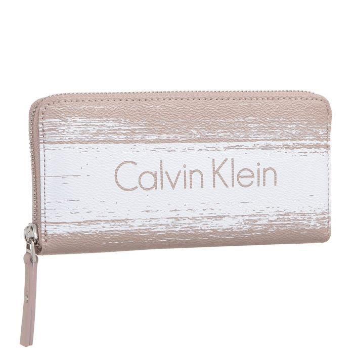 CALVIN KLEIN Portefeuille K60K601538 - MELISSA BRUSHED LARGE ZIPAR Blanc Femme