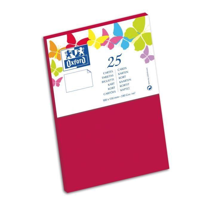 OXFORD 25 Cartes - 15 cm x 10 cm x 0,7 cm - 240g - Rouge