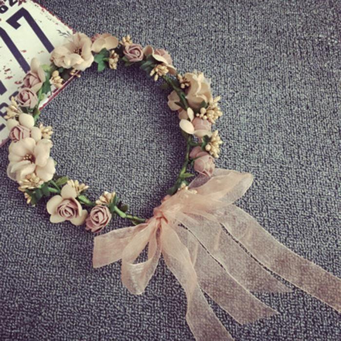 meilleure sélection moderne et élégant à la mode nouvelles variétés Faux femmes fleur cheveux Garland Bandeau Couronne de fleurs de mariage  Hairband Coiffe
