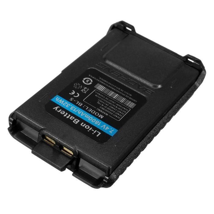 7.4 V 1800 Mah Grande Capacité Batterie Rechargeable Pour Durable Uv - 5r Bl-5 Baofeng Radio Talkie Walkie Series Double Sens Radio