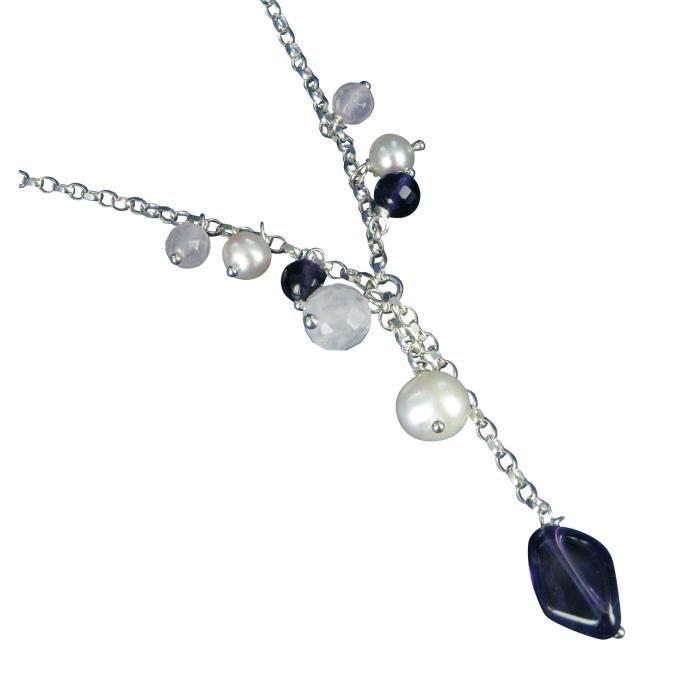 Jdjchs003 - Collier Femme - Argent 925-1000 4 Gr - Améthyste - Quartz Rose - Perle D Eau Douce Chinoise Z8P0R
