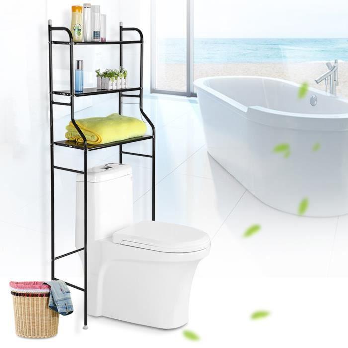 COLONNE - ARMOIRE WC Meuble Rangement de serviette de toilette avec 3 T