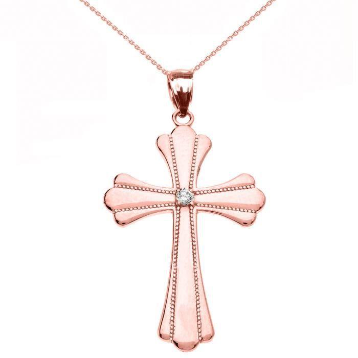 Collier Femme Pendentif 14 Ct Or Rose Solitaire Diamant Poli Élevé Milgrain Croix (Médium) (Livré avec une 45cm Chaîne)