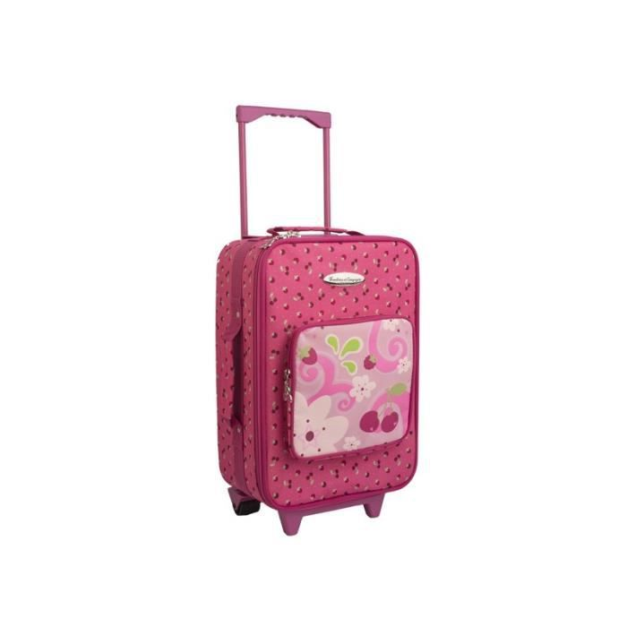 valise roulette cerise et framboisine pour fille cerise achat vente valise bagage. Black Bedroom Furniture Sets. Home Design Ideas