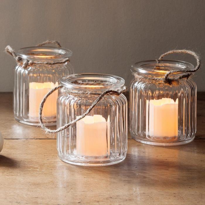 lot de 3 lanternes bocal en verre avec bougies led piles achat vente bougie d corative. Black Bedroom Furniture Sets. Home Design Ideas