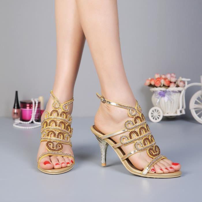 Sandales noir Nouveau paon boheme strass cloutés minces talons hauts chaussures de mariage mariée 6oN5dNSY