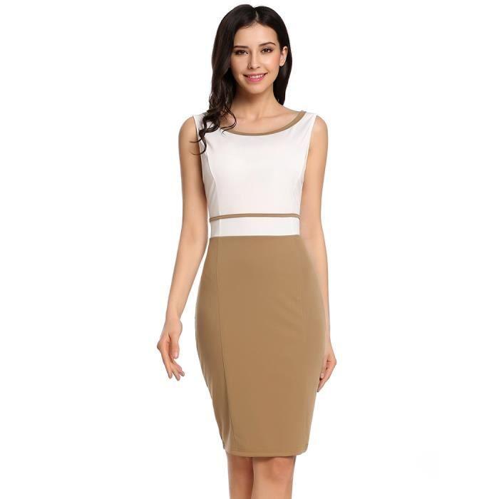 robe femmes slim Casual O-cou sans manches Patchwork contraste couleur arrière divisé élastique mince