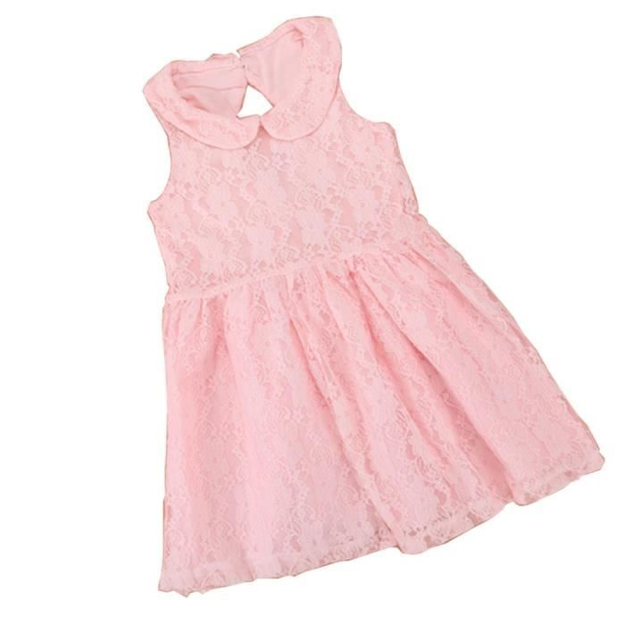 Robe fille Arshiner sans manches2 couches dos creux dentelle