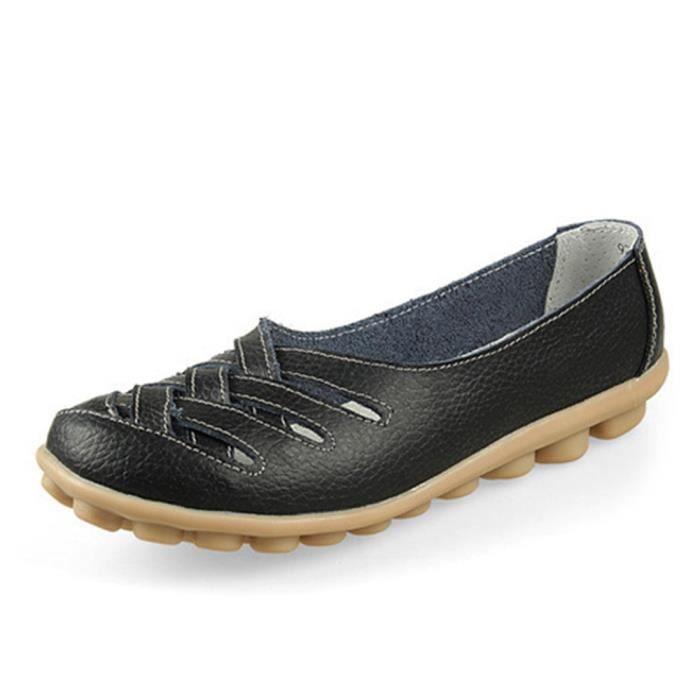 Chaussure Femme Été Nouvelle Mode Qualité Supérieure Grande Taille Cuir Femmes Plate Souliers Chaussures Occasionnels Comfortable