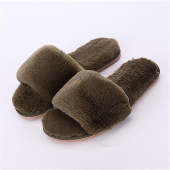 meilleure sélection 540e5 3b1c5 chausson hiver intérieur femmes pantoufles chaud hiver peluche Classique  Série à domicile chaussures marque Plusieurs couleurs
