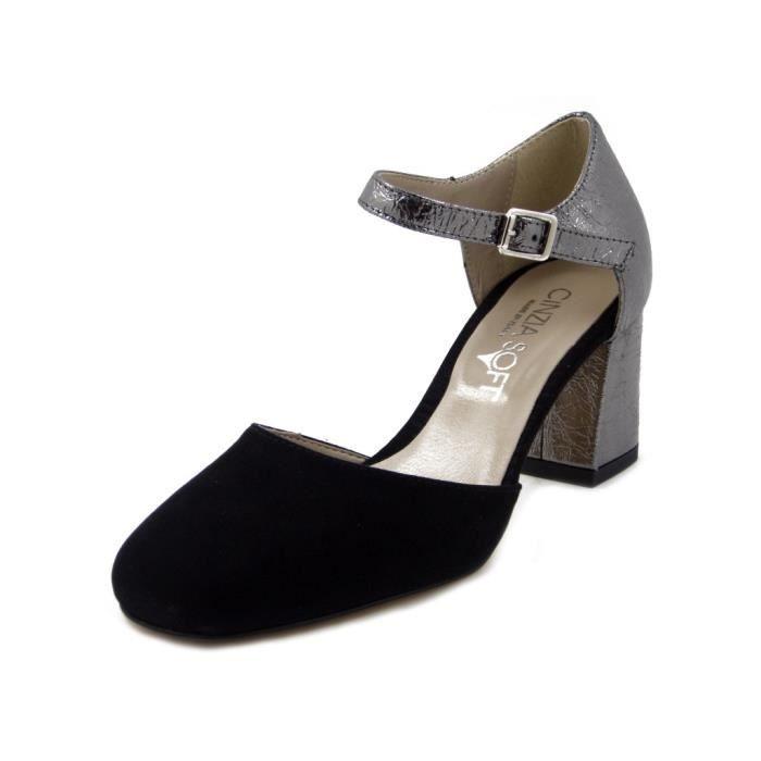 CINZIA SOFT, Sandale en daim noir et cuir laminé, talon 6cm., 712326