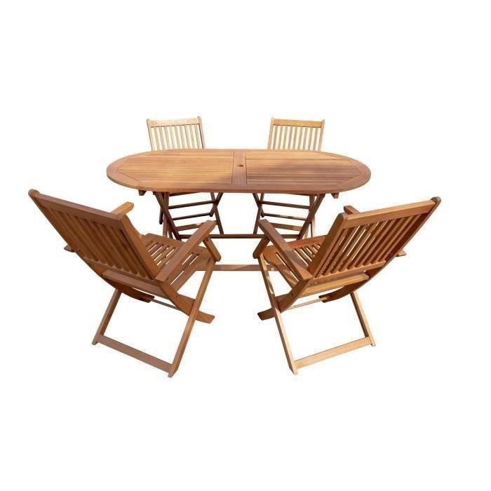 Ensemble table chaises de jardin en bois - Achat / Vente pas cher