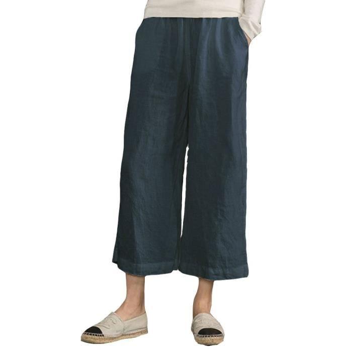 Lin noir Coton Clair À Confortable 3 rose Grande Et Pour 4 01 marine Pantalon  Femmes Large Taille Minetom Jambes Gris Elastiqué Fluides ... 7ff6c98da8cd