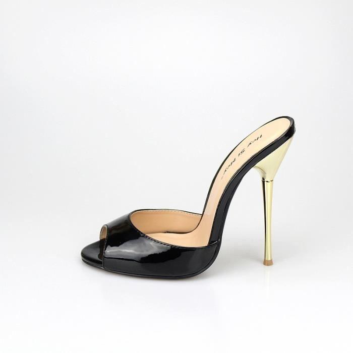 Plus Size Chaussures Fétiche 14cm Femmes Extreme Talons Peep Toe Pompes Stiletto sexy talon mince Slingback Sandales Parti pour