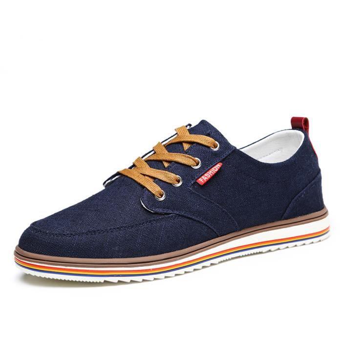 BJYG Saisons Quatre XZ133Bleu45 Toile Hommes Populaire Chaussures En Basses xOF0Bp