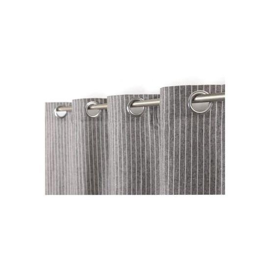 Rideau Style Industriel 140 x 260 cm à Oeillets Fines Rayures Gris ...