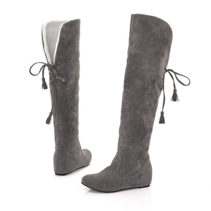 Sidneyki®Bottes chaudes en peluche d'hiver pour femmes Bottes hautes en cuissardes confortables Gris ASD383 crs9LvDB