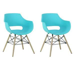 CHAISE Lot de 2 Chaises Design Olivia Turquoise, Salle à