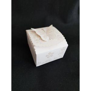 BOÎTE À DRAGÉES Boite à gâteau Fermeture papillon blanc Nacré 25 P